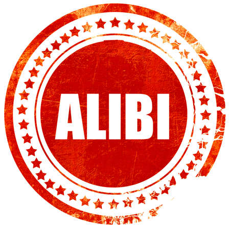 alibi, isolated red stamp on a solid white background Stock Photo