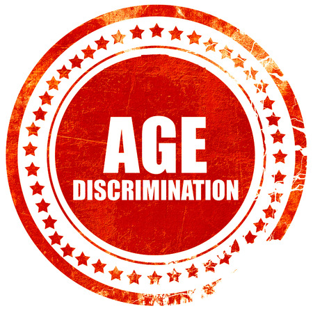 pension cuts: age discrimination, isolated red stamp on a solid white background