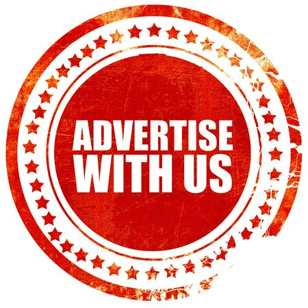 advertise: advertise with us, isolated red stamp on a solid white background Stock Photo
