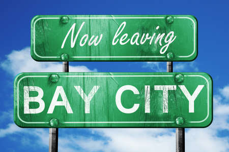 bay city: Now leaving bay city road sign with blue sky