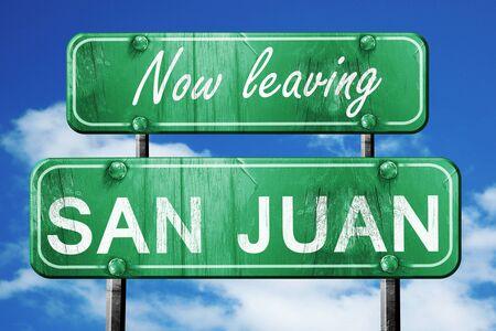 san juan: Now leaving san juan road sign with blue sky