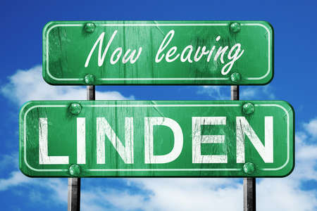 linden: Now leaving linden road sign with blue sky Stock Photo
