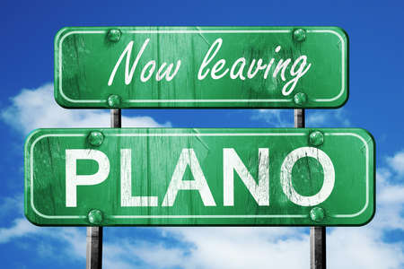 plano: Now leaving plano road sign with blue sky