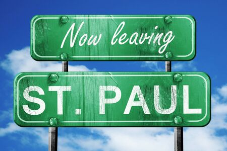 paul: Now leaving st. paul road sign with blue sky