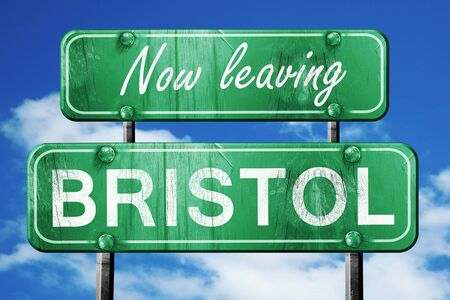 bristol: Now leaving bristol road sign with blue sky Stock Photo