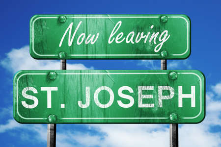st  joseph: Now leaving st. joseph road sign with blue sky