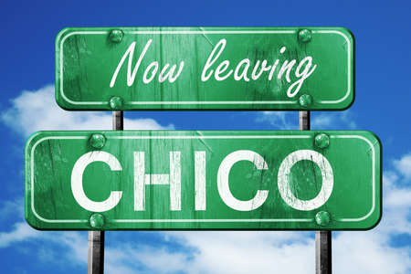 leaving: Now leaving chico road sign with blue sky Stock Photo