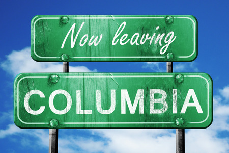 columbia: Now leaving columbia road sign with blue sky
