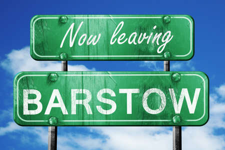 barstow: Now leaving barstow road sign with blue sky