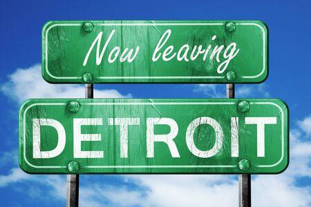detroit: Now leaving detroit road sign with blue sky