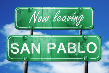 pablo: Now leaving san pablo road sign with blue sky
