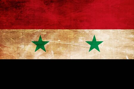 folds: Syria flag with some soft highlights and folds Stock Photo