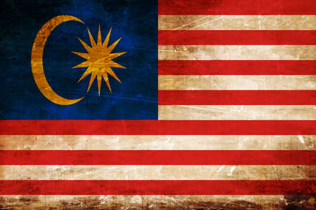 folds: Malaysia flag with some soft highlights and folds Stock Photo