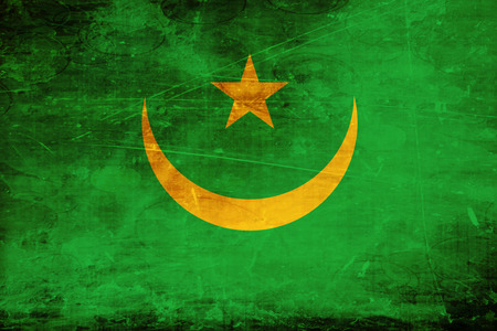 mauritania: Mauritania flag with some soft highlights and folds Stock Photo