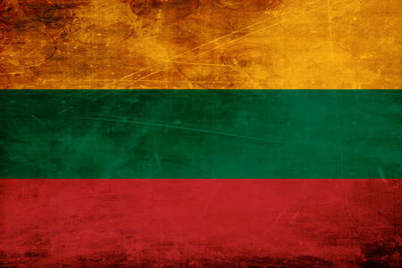 folds: Lithuanian flag with some soft highlights and folds Stock Photo