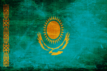 folds: Kazakhstan flag with some soft highlights and folds