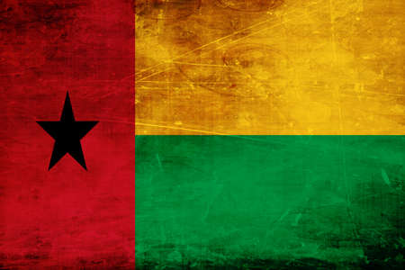 folds: Guinea bissau flag with some soft highlights and folds