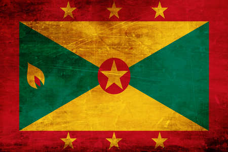 folds: Grenada flag with some soft highlights and folds