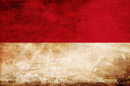 indonesia culture: Indonesia flag with some soft highlights and folds Stock Photo