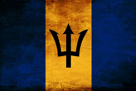 barbados: Barbados flag with some soft highlights and folds Stock Photo