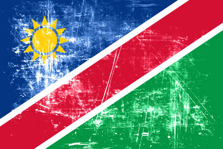 folds: Namibian flag with some soft highlights and folds Stock Photo