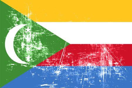comoros: Comoros flag with some soft highlights and folds Stock Photo