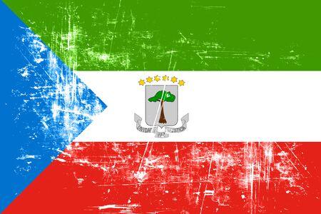equatorial: Equatorial guinea flag with some soft highlights and folds