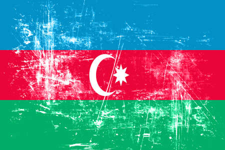 folds: Azerbaijan flag with some soft highlights and folds Stock Photo