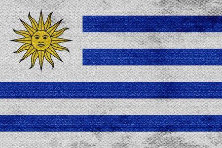 bandera de uruguay: bandera de Uruguay con algunos toques de luz y suaves pliegues