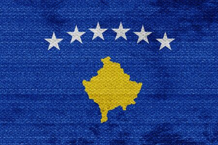 kosovo: Kosovo flag with some soft highlights and folds Stock Photo