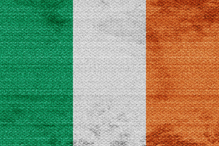 irish culture: Irealand flag with some soft highlights and folds Stock Photo
