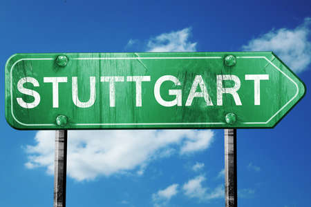 stuttgart: Stuttgart road sign, on a blue sky background Stock Photo