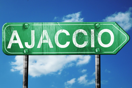 ajaccio: ajaccio road sign, on a blue sky background Stock Photo