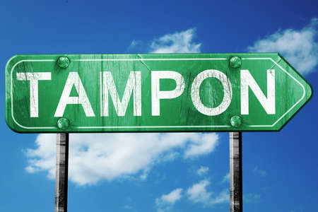 tampon: tampon road sign, on a blue sky background
