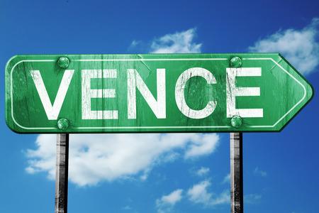 vence: vence road sign, on a blue sky background