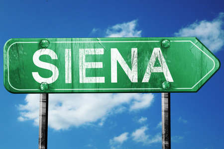 siena italy: Siena road sign, on a blue sky background