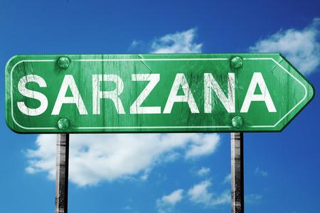 sarzana: Sarzana road sign, on a blue sky background