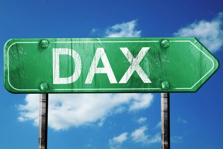 dax: dax road sign, on a blue sky background Stock Photo
