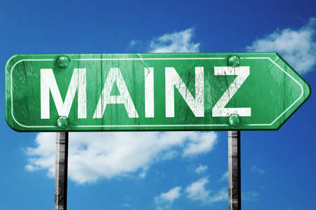 MAINZ: Mainz road sign, on a blue sky background Stock Photo