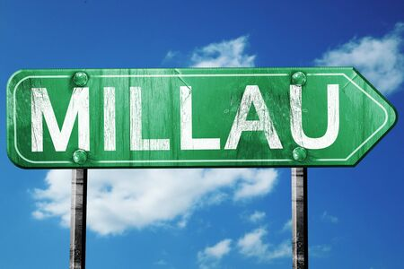 millau: millau road sign, on a blue sky background