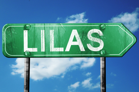 lilas: lilas road sign, on a blue sky background
