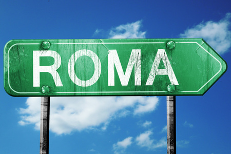 roma: Roma road sign, on a blue sky background