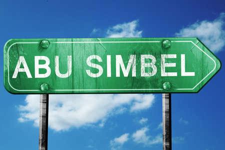 abu simbel: abu simbel road sign, on a blue sky background