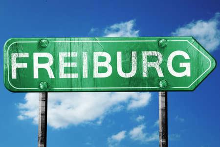 freiburg: Freiburg road sign, on a blue sky background