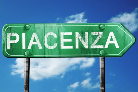 piacenza: Piacenza road sign, on a blue sky background