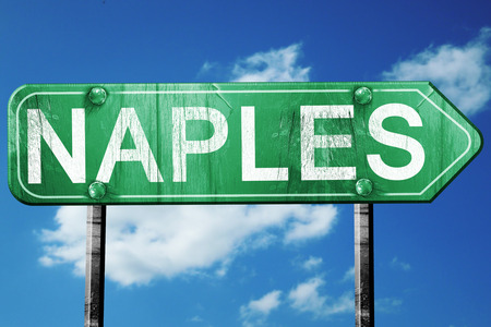 naples: Naples road sign, on a blue sky background