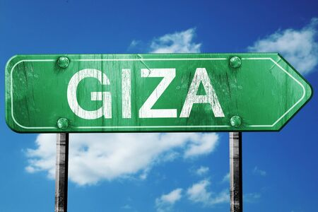giza: giza road sign, on a blue sky background Stock Photo
