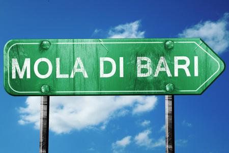 Mola di bari road sign, on a blue sky background