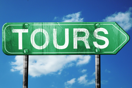 tours: tours road sign, on a blue sky background