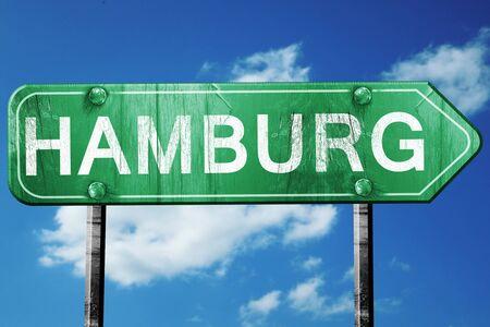 hamburg: Hamburg road sign, on a blue sky background
